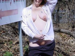 Here\'s a closer shot of my wife out flashing on the roadside.