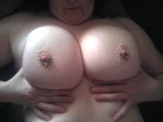 we love big boobs, love hard, pierced nipples, and we would love to play with yours. kisses and licks