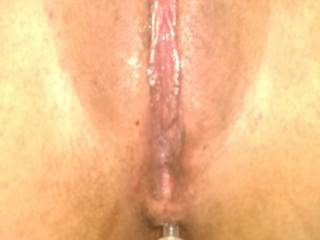 My wife\'s pretty pussy soaking wet, her ass filled with anal beads