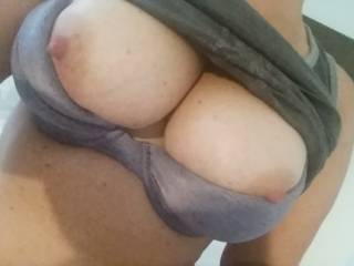 gf's  big tits!  what you would do to her huge tits