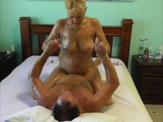 Pt 4 of this series. Oil Slide & Fuck. She releases my bonds so it\'s my turn to play with her pussy, fuck her hard, then she rides me like the cock lover she is.