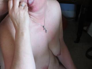 She can\'t keep her pretty mouth off my cock.