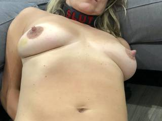 Recently, my wife said she wanted to to be dominated, humiliated and degraded by me. As you can see, wearing a slut collar made her nipples really hard