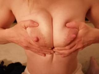 Squeezing and teasing the milf tits and nips, titfuck anyone 💦💦😜