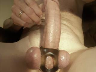 Here\'s my GOOD hard-on right before I jacked off. I\'d LOVE to see what yall have to say and think about my cock and balls with my new toy.