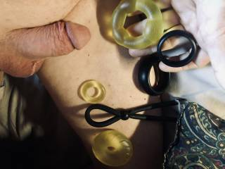 Showing a friend some of my cock rings and asked her to choose. She picked the little yellow one.
