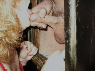 More of my wife sucking strange dick at our local bookstore.  This was when he was pumping his creamy load all over her face.
