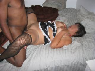 My wife getting paid for being a good maid.  I love fucking her tight, little, asian pussy.