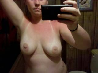 Nice piercing! Love the tan marks, and great boobs!!