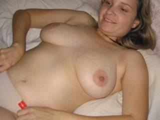Beautiful pregnant  boobs they are too... And pull them panties down a bit too.. In your next pic ...maybe  ? ? ?
