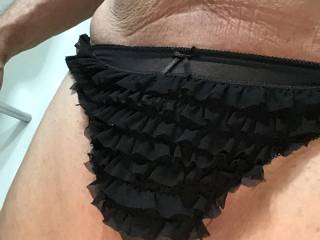 It tells me that It's frilly new panties are surprisingly comfortable... they keep It's little package in place nicely, and they feel wonderful, both to Me and it... 😁