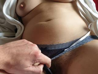 Wife wearing a bathrobe, with me fingering her