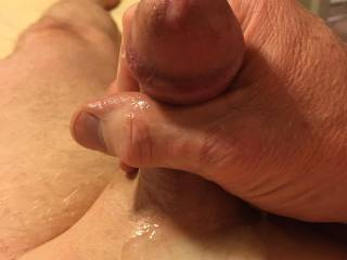 My warm, creamy cum puddle from my latest video.  Who wants to lick it all up and then suck out the last drops from my swollen head?!?