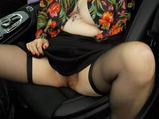 The benefits of no underwear is the wonderful view as Sally gets into or out of a car.
