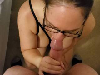 "I requested lingerie and glasses, she requested multiple orgasms, hard deep fucking and if ""I deserved it"" she'd request my load to cover her face, glasses and tits. 