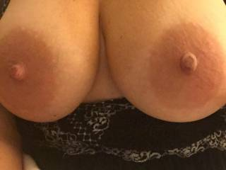 She seriously may have, for my taste, the most beautiful tits I have ever seen!!  Everything about them is perfect...size, shape, big aerolas (my favorite!) and deliciously hard nipples Just begging to be licked, sucked and nibbled on!!