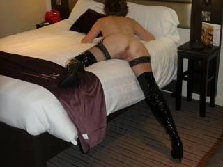 Posing in my hotel room