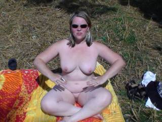my wife outdoors naked getting ready to fuck