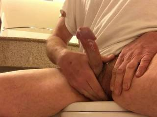 Jacking off in hotel bathroom...