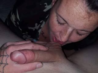 Sucking on my balls