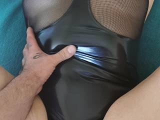 Caressing my cock in her juicy pussy