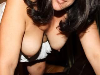 Hanging DD tits and hard nipples!