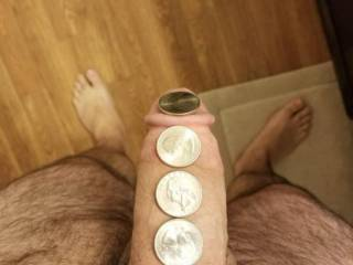 For fun I was challenged to see how many quarters fit.
