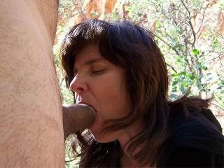 My husband wanted me to tell the story on this one because it was my very first outdoor blowjob with a camera. There were four guys scaling the mountainside but we couldn\'t see them untill my husband took the final pic of his cumshot on my boobies. We kne
