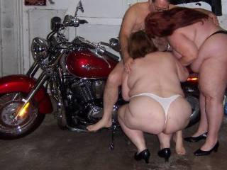 ride the bike then ride the ladies - or ride the bike then lie on your back and get ridden by the ladies - whatever - lucky guy!