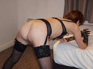 Prepared and ready for my live webcam show last Sunday.  Do I look OK from behind in this position?