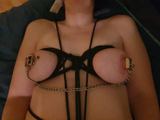 Clamping up her nipples while tied up.