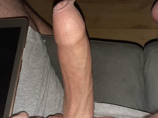 My hard cock with foreskin overhang