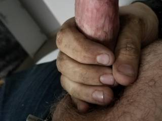 got horny and asked my hubby to show you all his hard cock when he jut got off work.