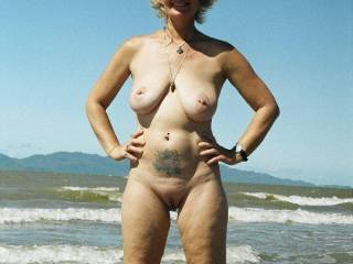 I'd love to be there on the beach in the nude or anywhere with you. Beautiful body.