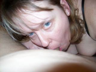 Lupo\'s wife has such sexy eyes as she sucks on my cock...Who wants to look into her blue eyes next as she sucks on their cock?