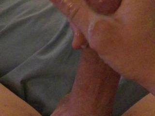 Horned up and blowing a big creamy load.