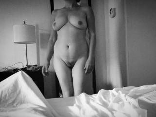 My slut exposes her naked body in our hotel at Boston (!)