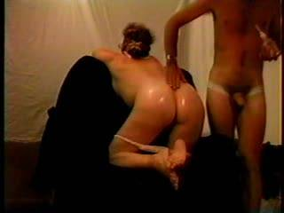 Cheatin MILF Erica...blindfolded , made to expose her ass...oiled, butt slapped and fingered...she DRIPS doing this...didnt know my buddy was watching me do her...she blew and fucked us both.
