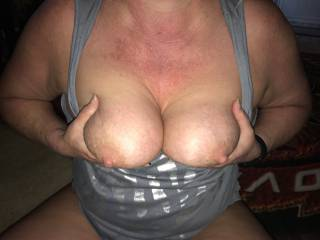 wife holding tits