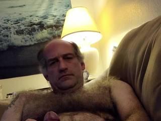 Stroking my big, hard cock. Cum stroke me!