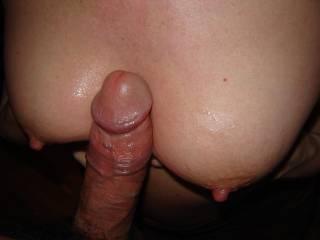 sliding my big pole between her beautiful slippery tits!