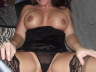 big nice pierced tits and black teddy