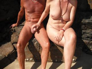 Playing with our nudist friend\'s cock at the local nude beach when it was quiet