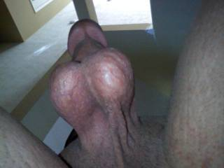 Hubby standing over me with his balls hanging before we 69
