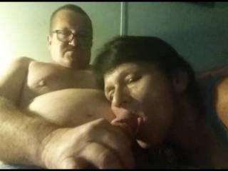 Wife sucks my dick and I cum in her face
