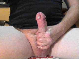 Stroking my hard throbbing cock while cam chatting on Zoig! Going to cum good!
