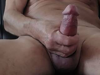 It's so good to feel my hard cock in my hand and wanking