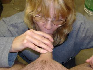 Sucking and stroking me in the maintenance shop.