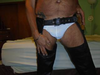 """love to be stripping in these """"NEW Black Leather Chaps"""""""