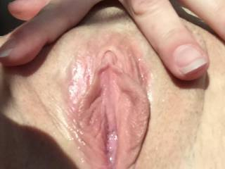 Close up picture of my sexy wife horny for me.  Very wet and dripping